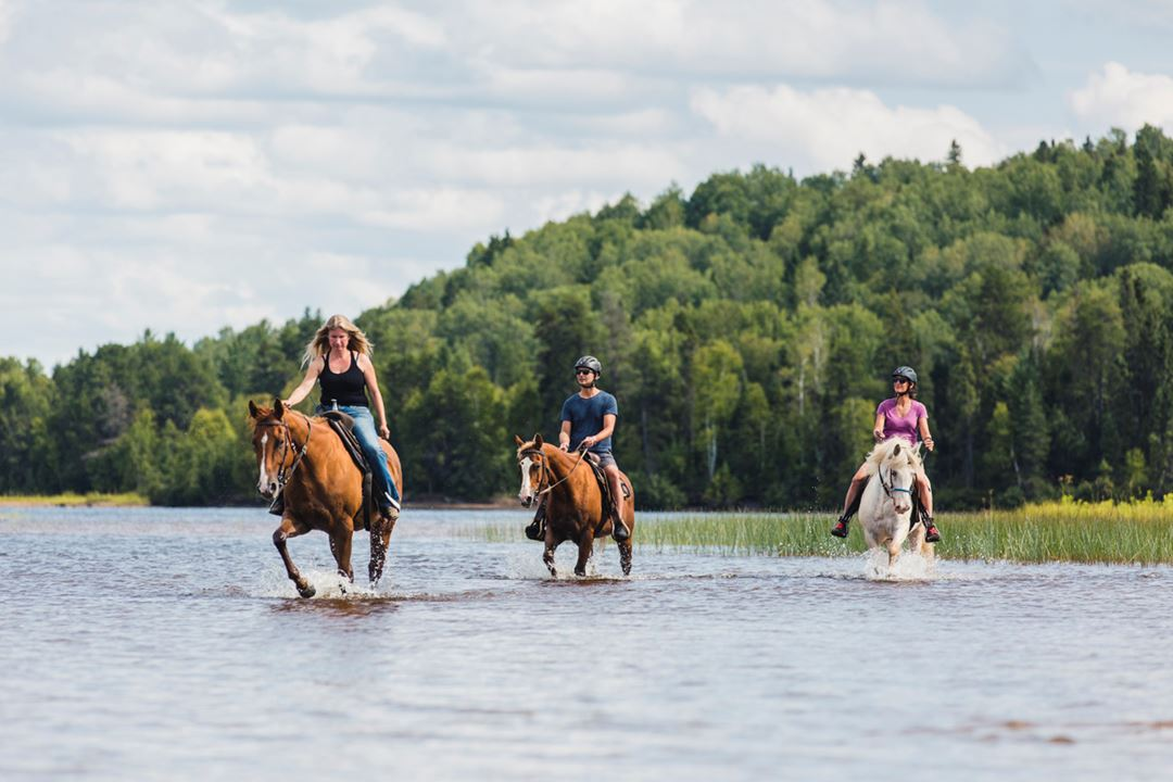 Horseback riding at Auberge du Lac Taureau