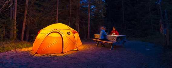 Camping la nuit au parc national du Mont-Tremblant