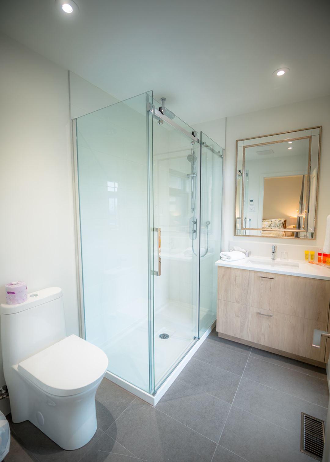 Bathroom at La Montagne Coupée cottages