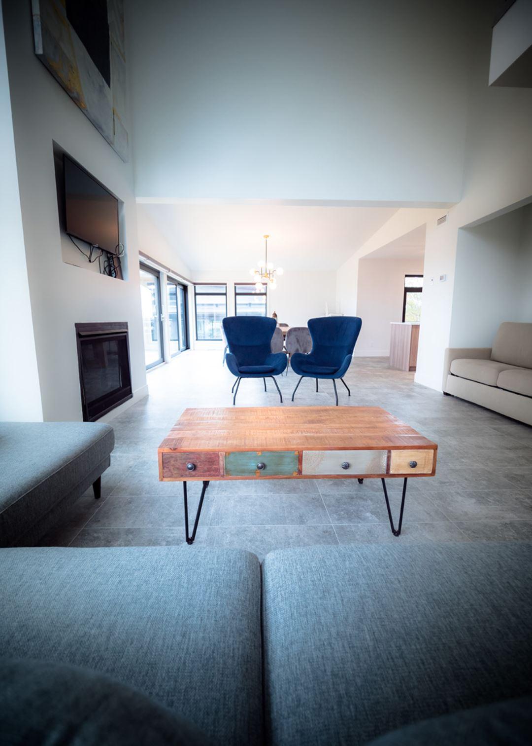 Living room of the cottages of La Montagne Coupée