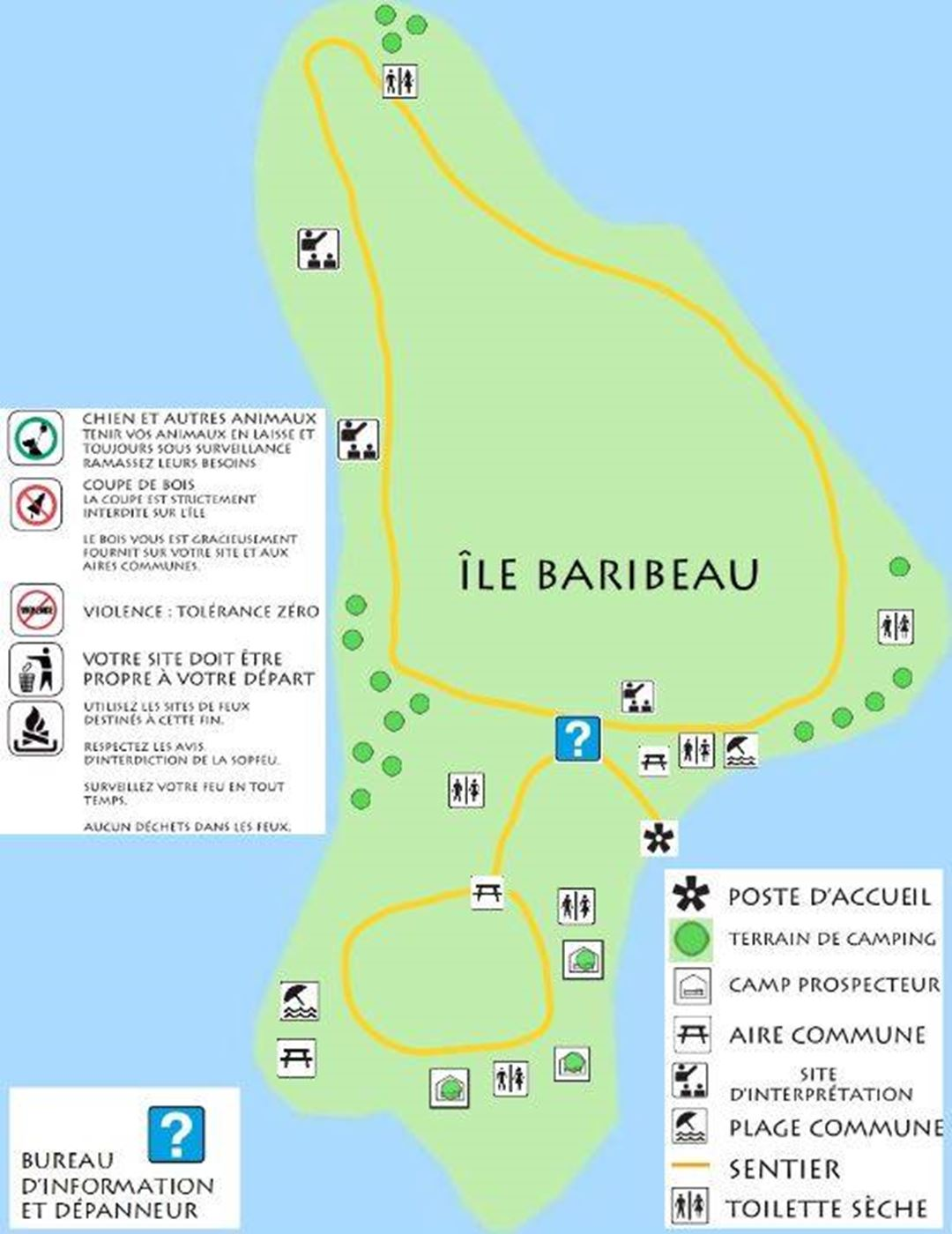 Map of the island with site.