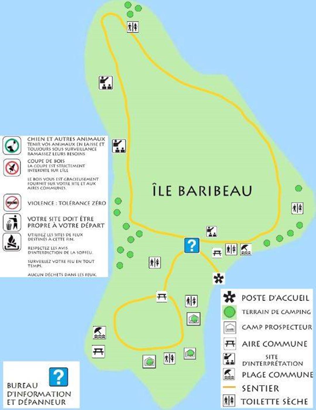 Carte de l'île avec site.
