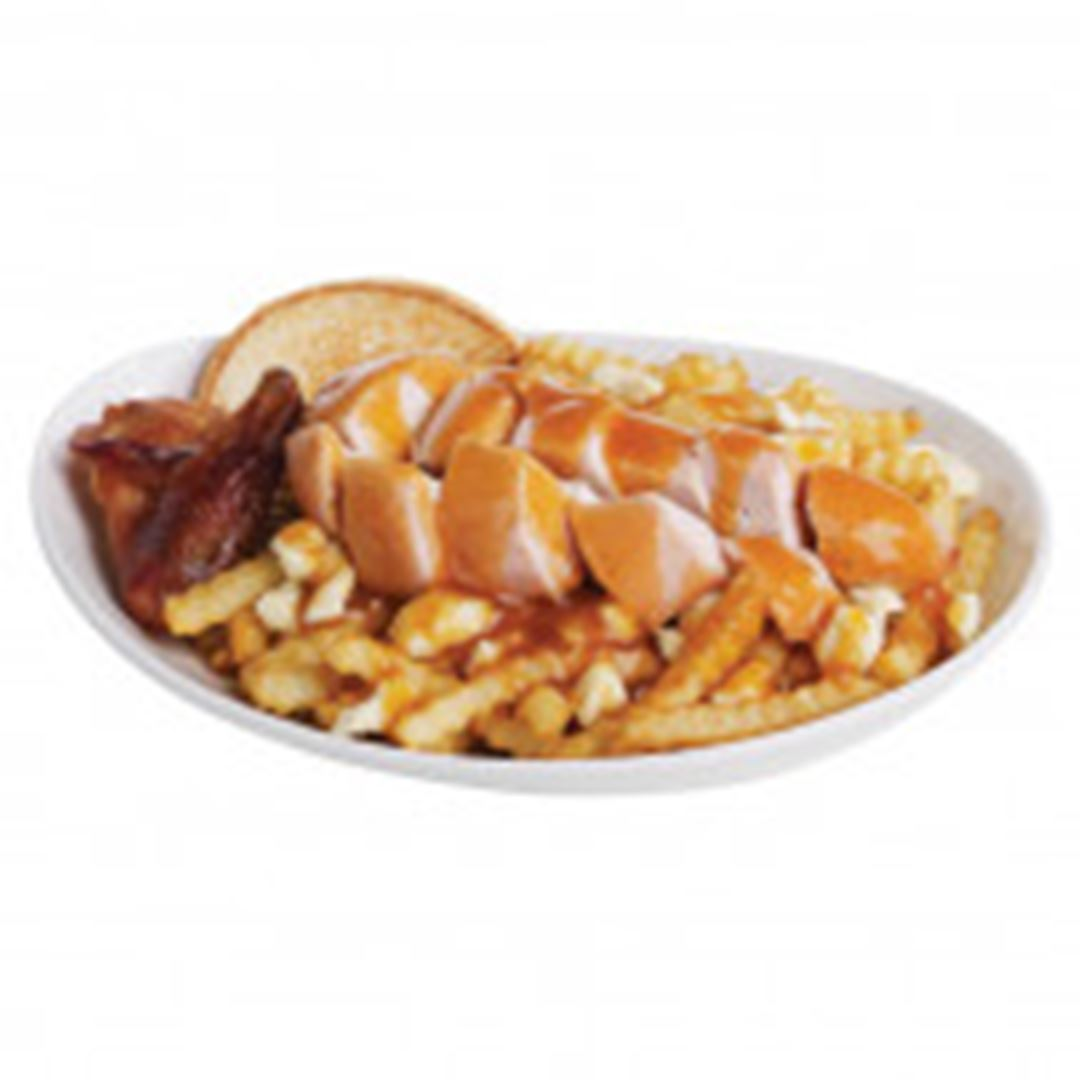 Poutine with chicken.