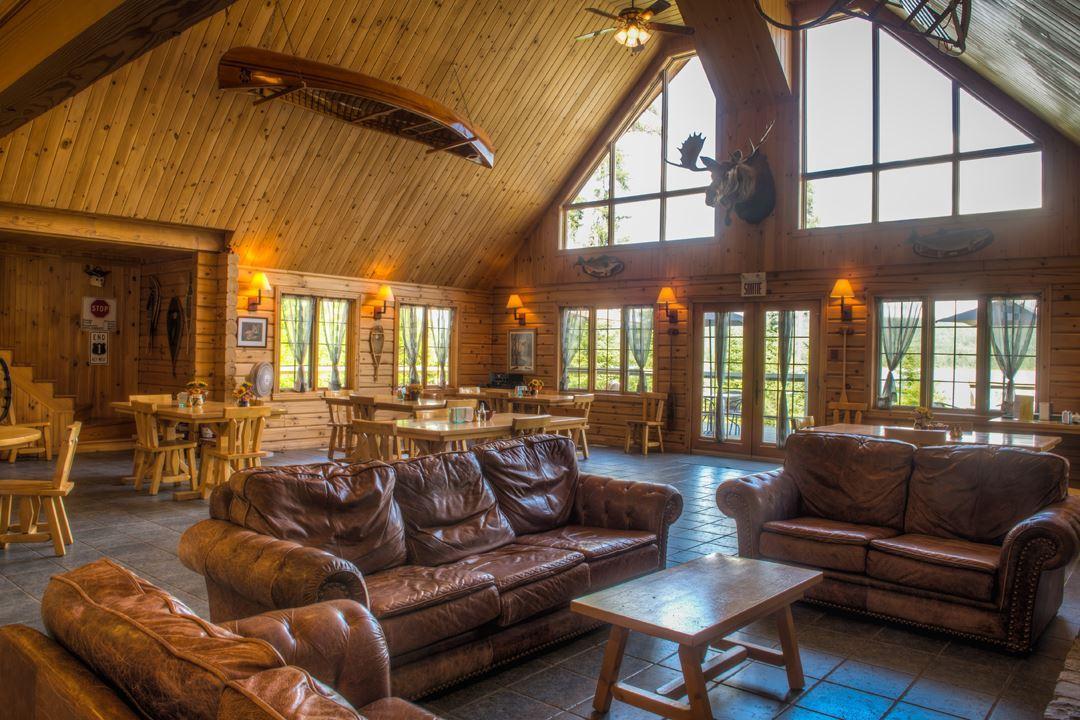 Living room at the inn at Camp Taureau