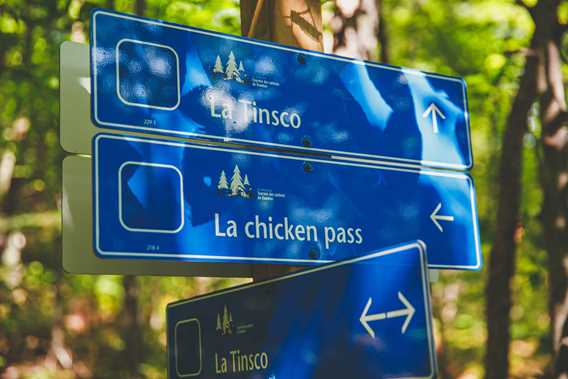 Signs announcing mountain bike trails at Tournée des Cantons de Rawdon