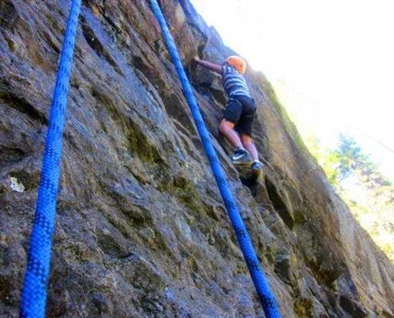 Outdoor climbing wall at Plein Air Lanaudia vacations centre
