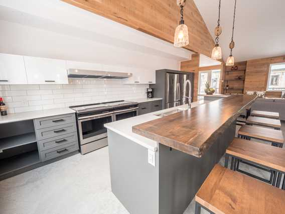Kitchen at Chalets au Lac Taureau