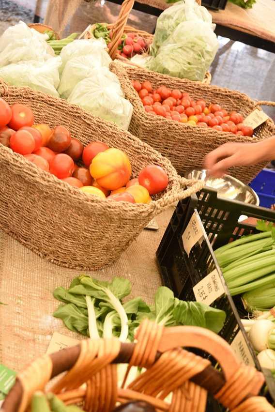 Display of vegetables at the authentic public market of Notre-Dame-de-la-Merci