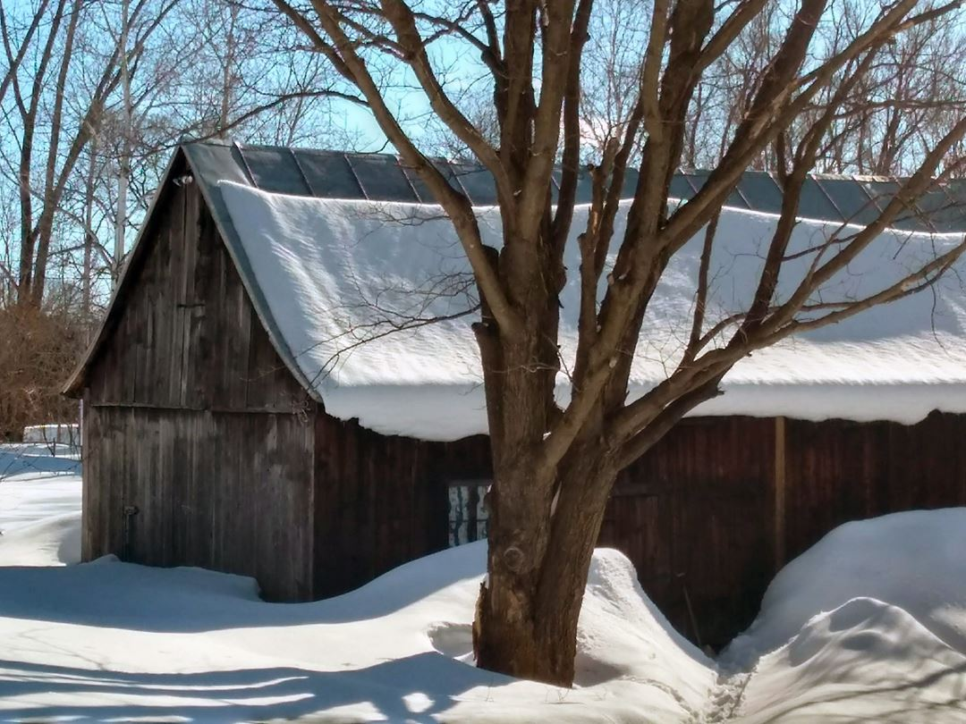 Exterior of the barn in winter at the Chêne et capucine  bed and breakfast