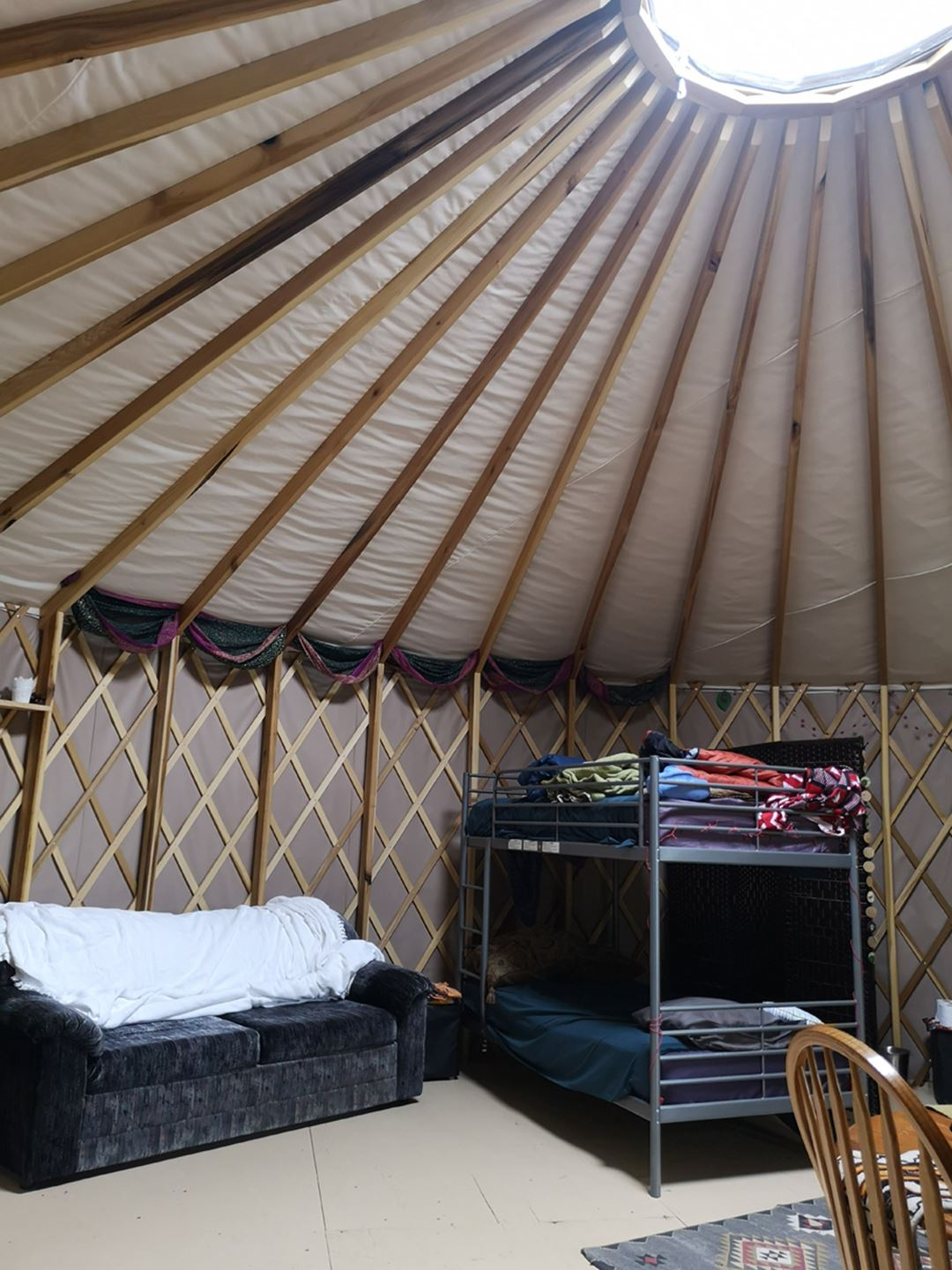 Indoor of the yurt at Sow