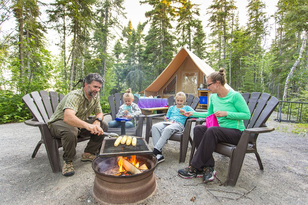 Family in camping at parc national du Mont-Tremblant