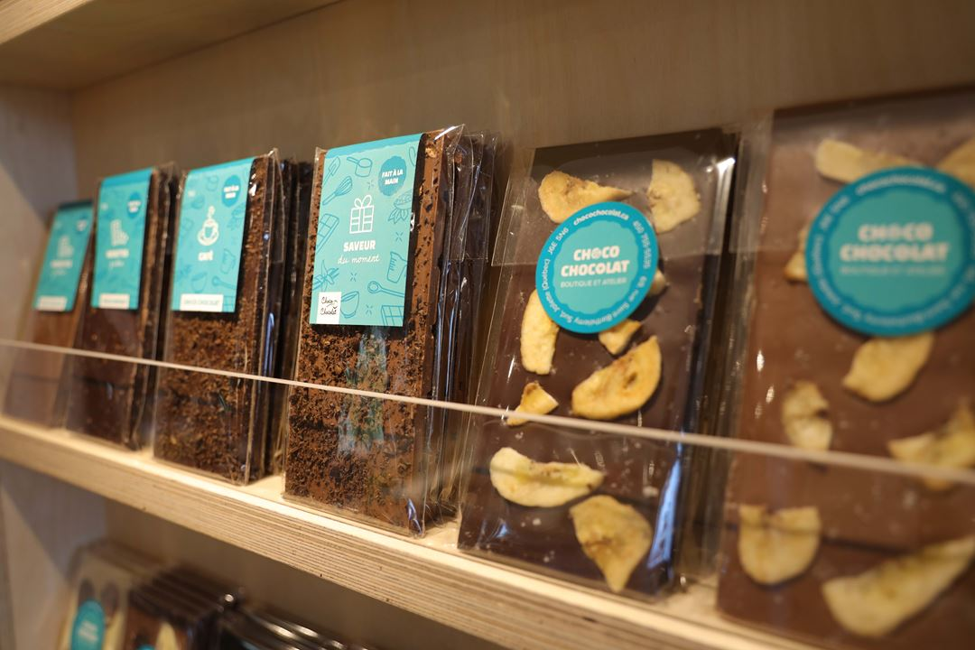 Palettes of fine chocolates of Chocolaterie Choco Chocolat