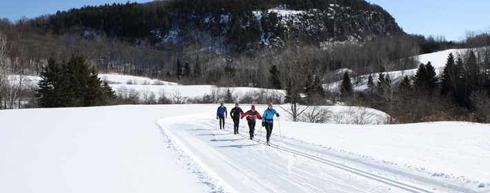 People cross-crountry skiing during winter in the sector le Piémont