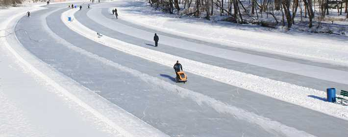 Ice-skating during winter on the L'Assomption river in the sector la Plaine