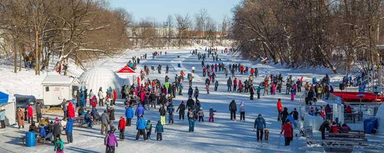 Festi-glace sur la Rivière L'Assomption durant l'hiver