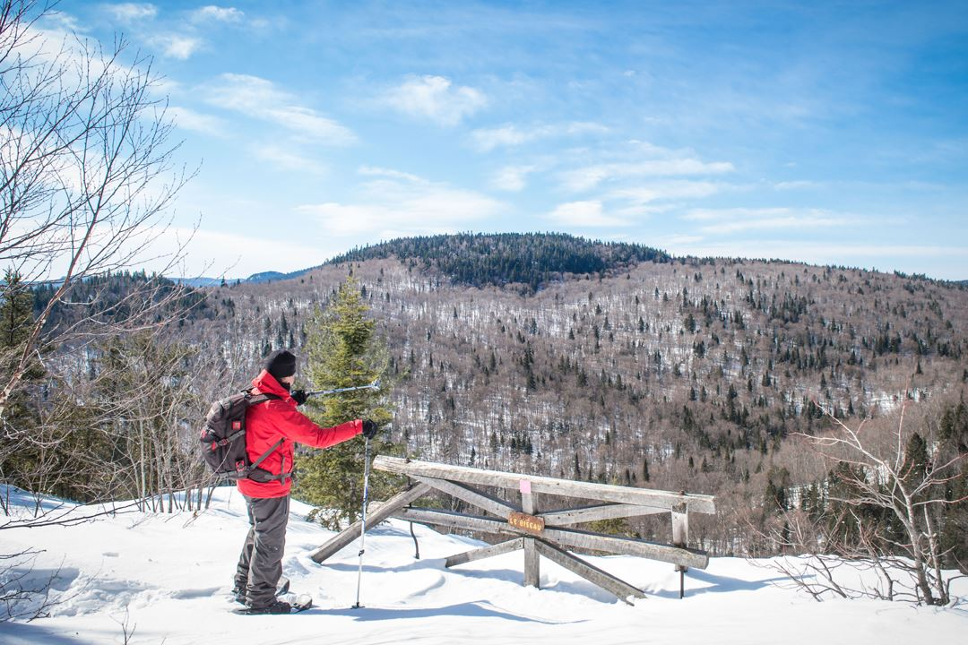 A man snowshoeing on the top of the trail Mont-Brassard