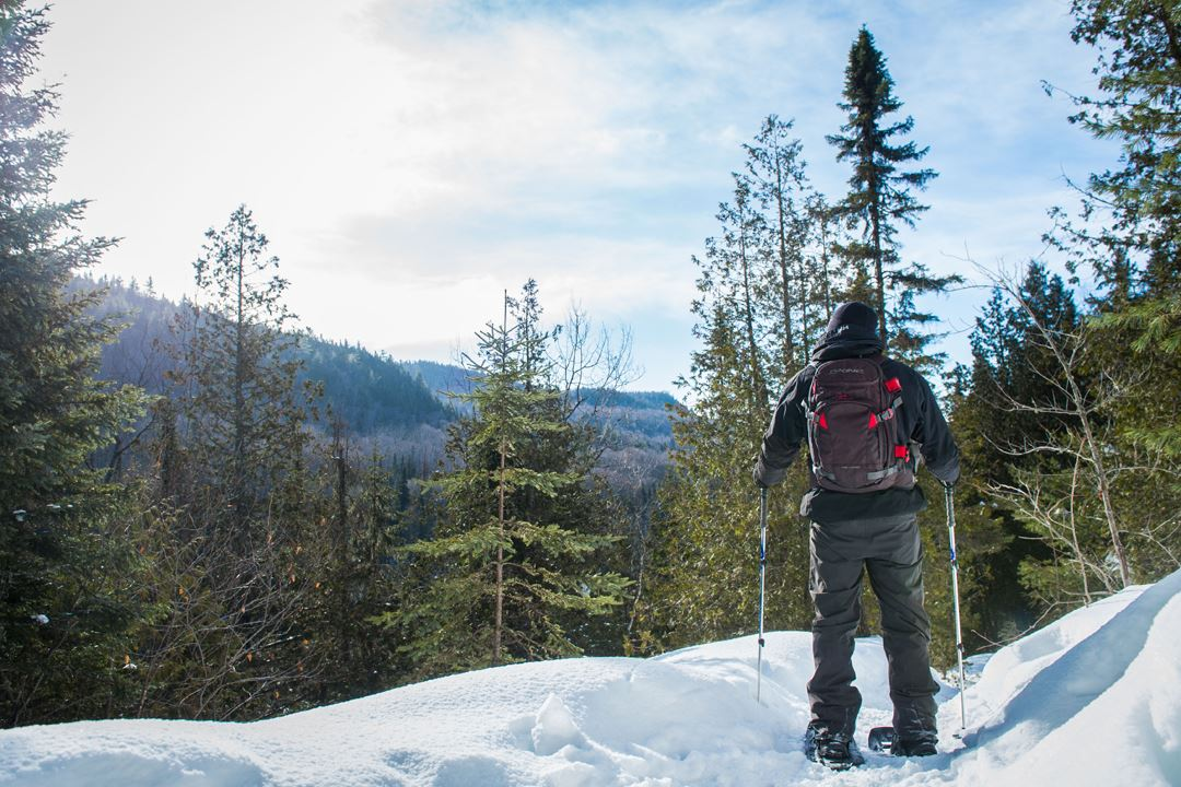 A man snowshoeing at the top on the trail Mont-Brassard
