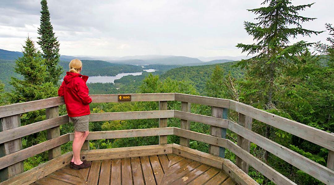 Une dame au sommet du sentier l'Envol du parc national du Mont-Tremblant