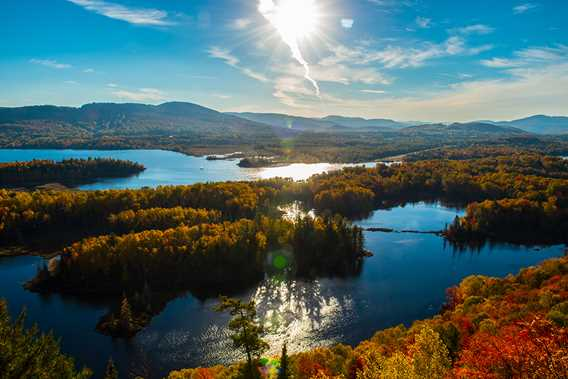 The view of the mountains and the two lakes of Saint-Donat