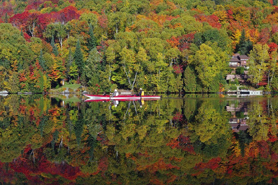 Faire du kayak à l'automne