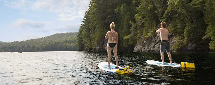 Paddle board at Chalets Lanaudière