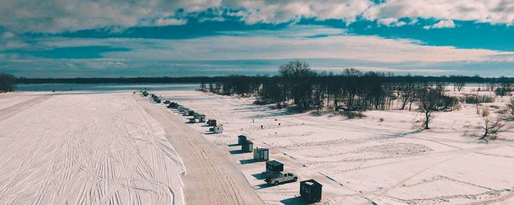 Ice fishing huts on the St. Lawrence River