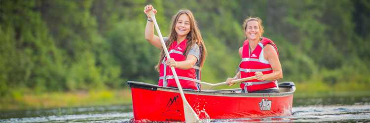 Mother and daughter in canoe