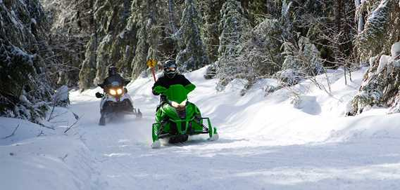 Snowmobile on the trail